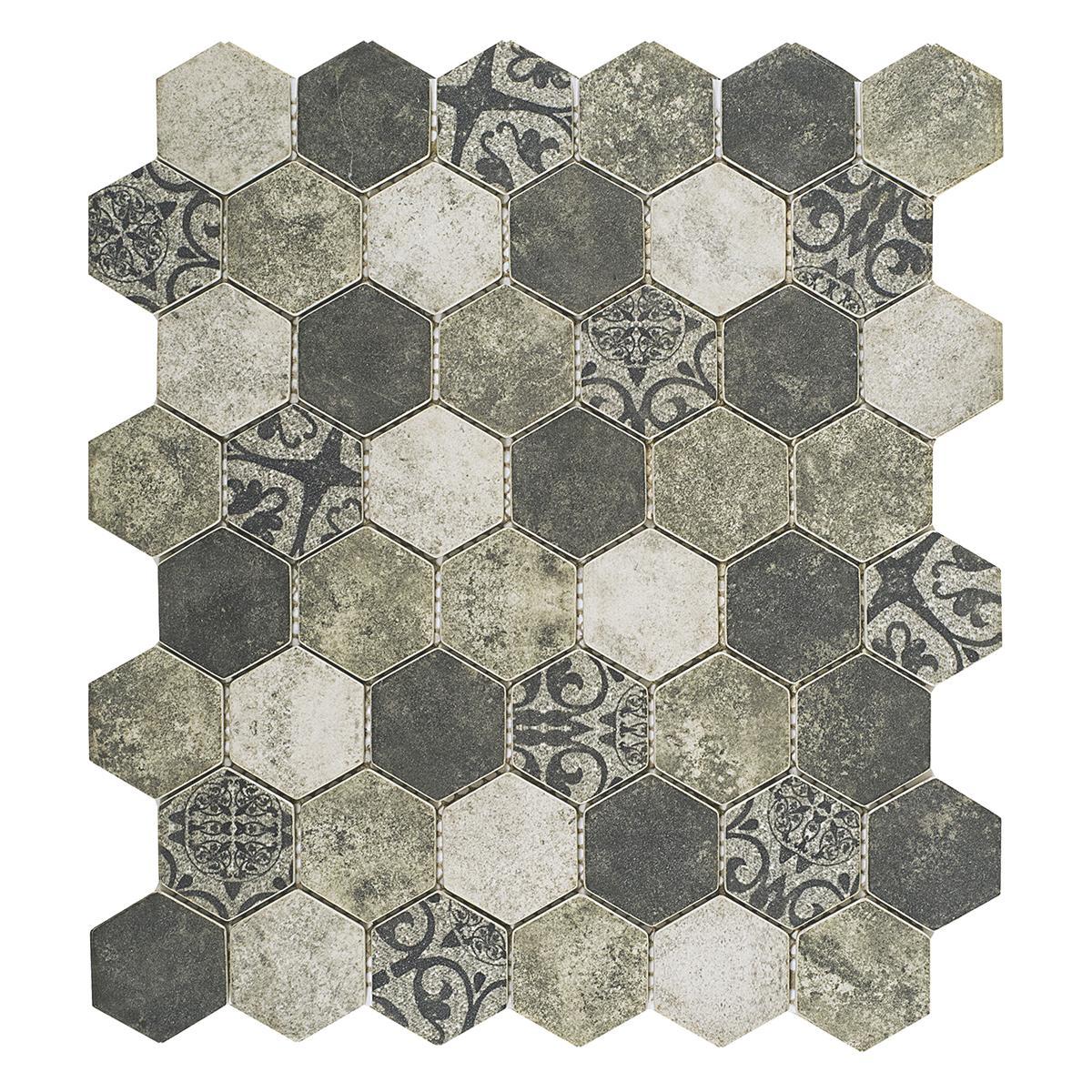 Pepelma Hexa Gris Mate - 34.46X29.8 cm - 1 Pza