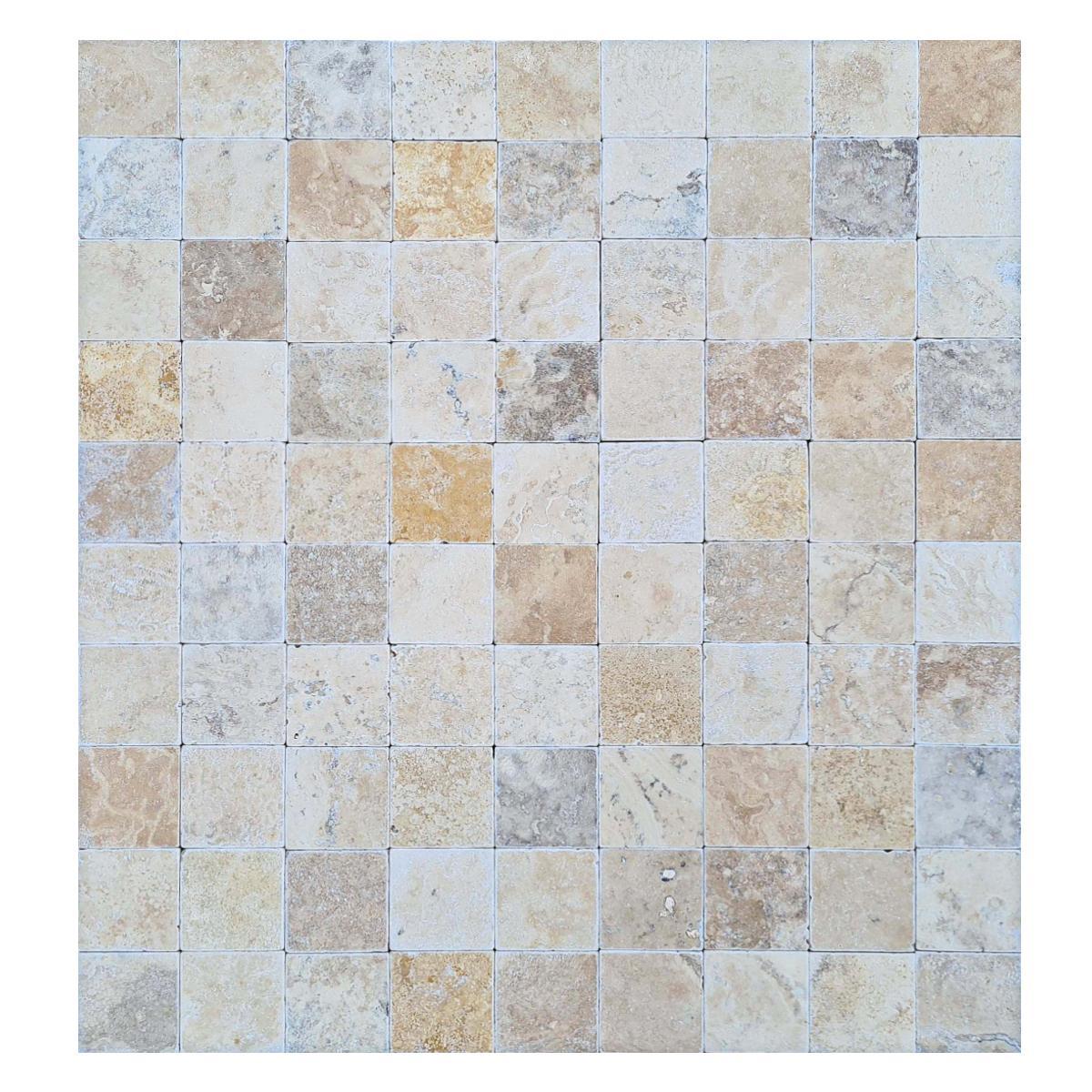 Mármol Travertino Envejecido Crema/Amarillo Rústico - 10X10 cm - 0.96 m2