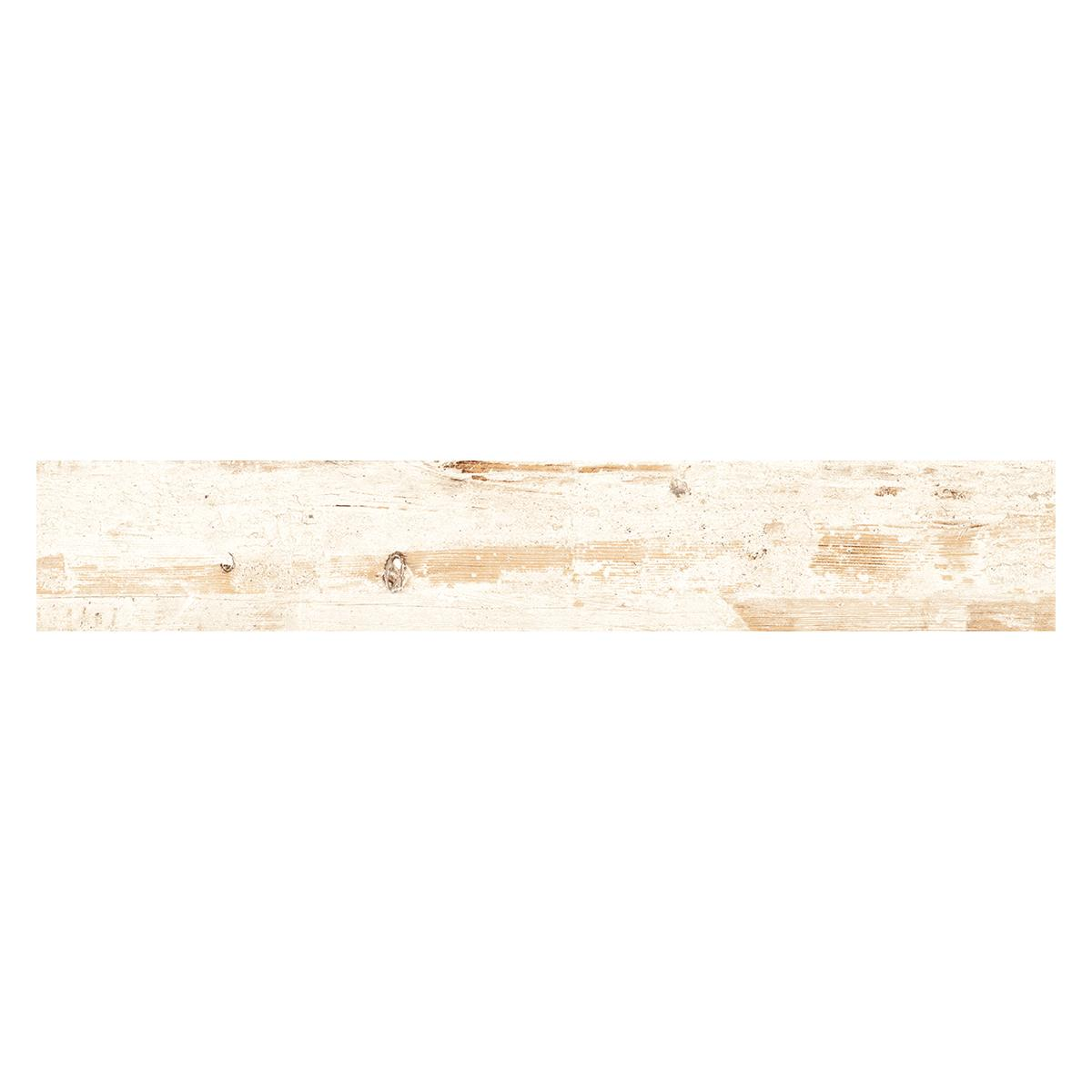 Gres Porcelánico Vintage II Wood Blanco/Marrón Mate - 19X118 cm - 1.32 m2