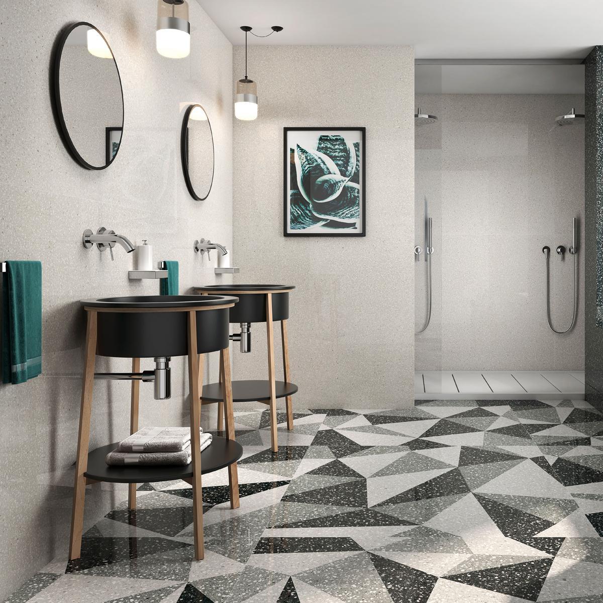 Porcelanato Terrazo Beige Brillante - 120X120 cm - 1.44 m2