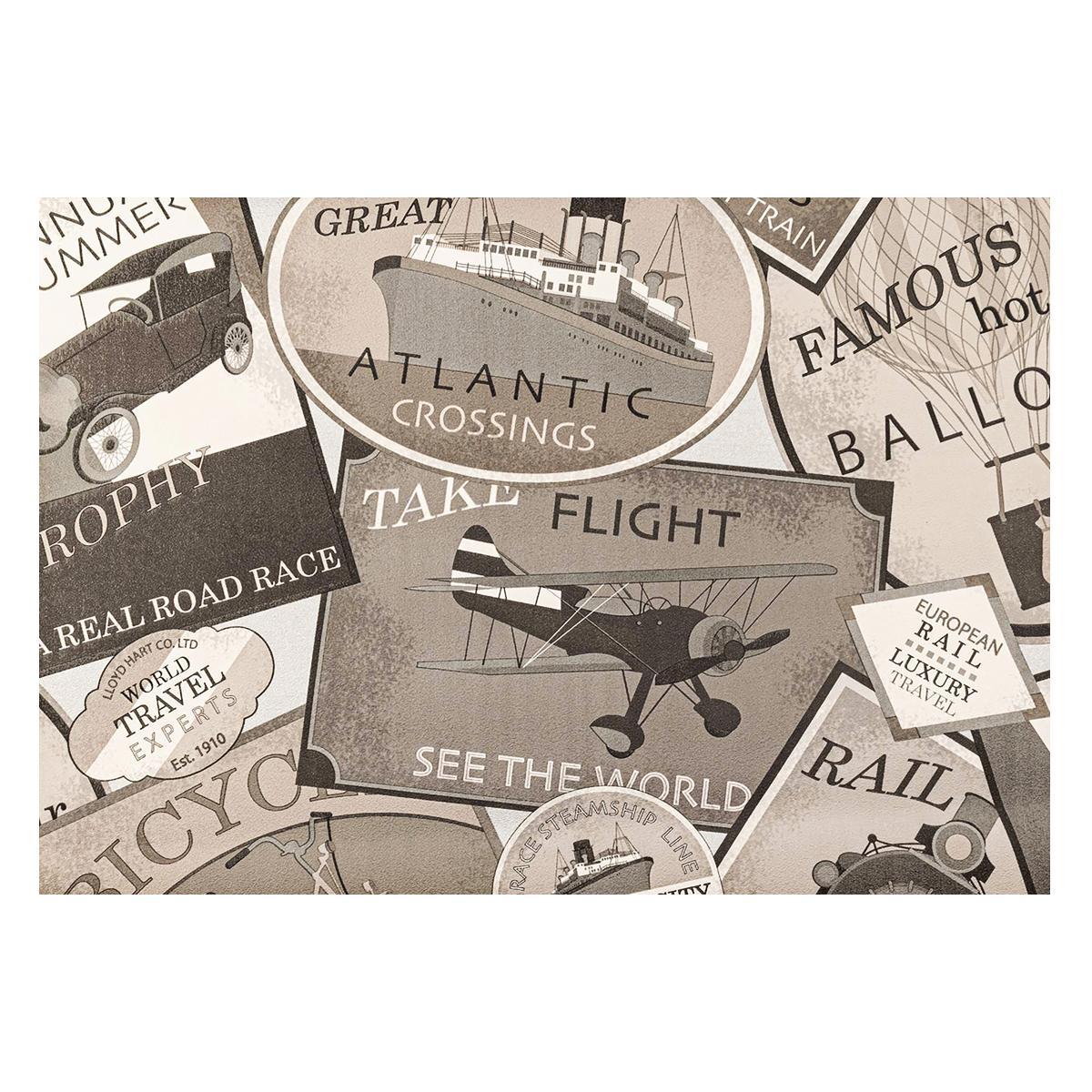 Papel Decorativo Bon Voyage Deco Gris/Negro Mate - 53X1000 cm - 5.30 m2