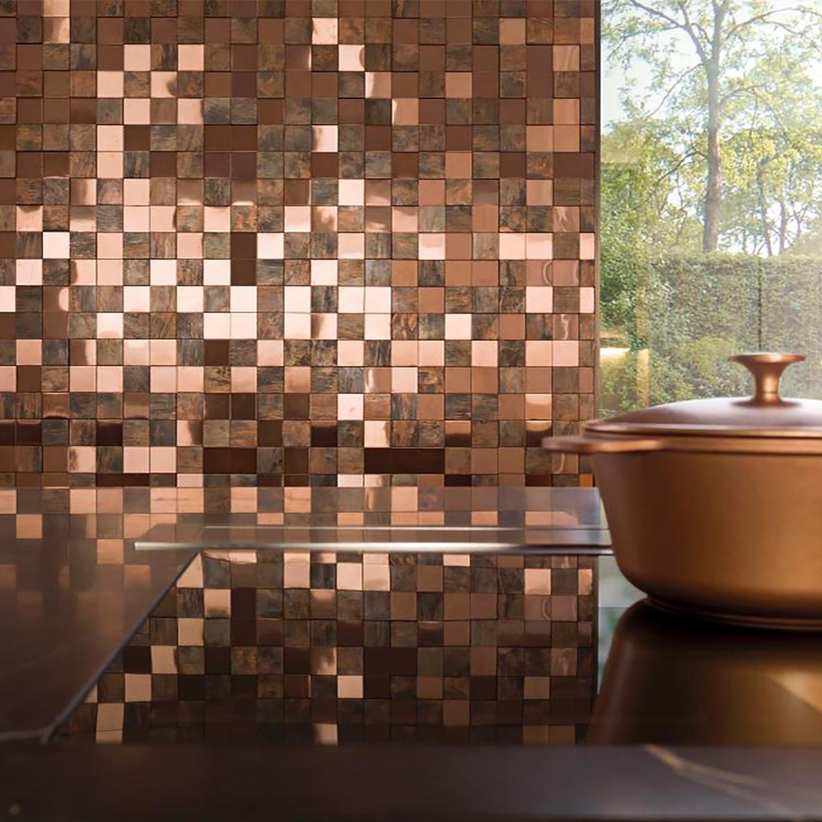 Mosaico Metal Marrón Brillante/Mate - 30X30 cm - 1 pza