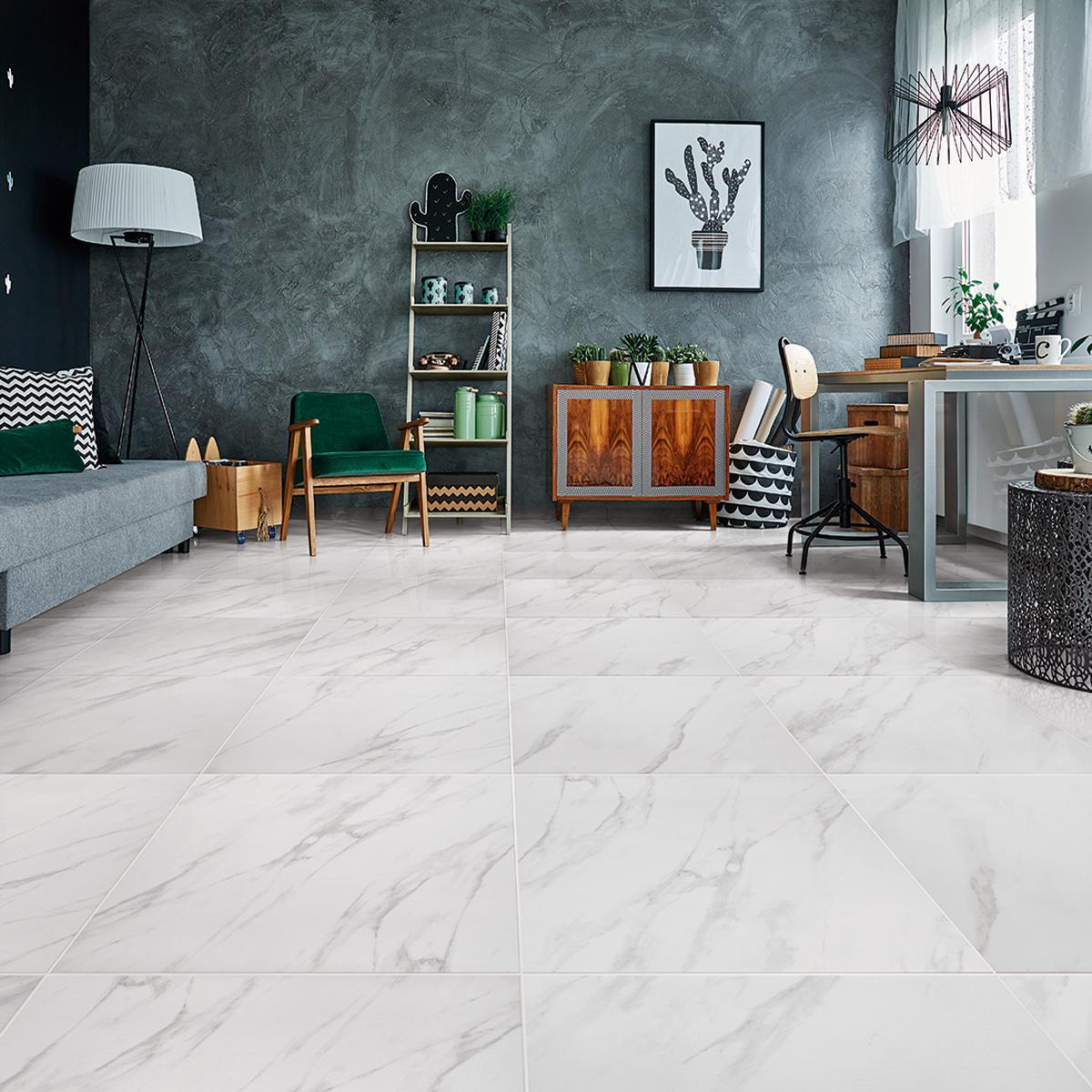 Porcelanato Carrara Blanco Mate - 61X61 cm - 1.48 m2