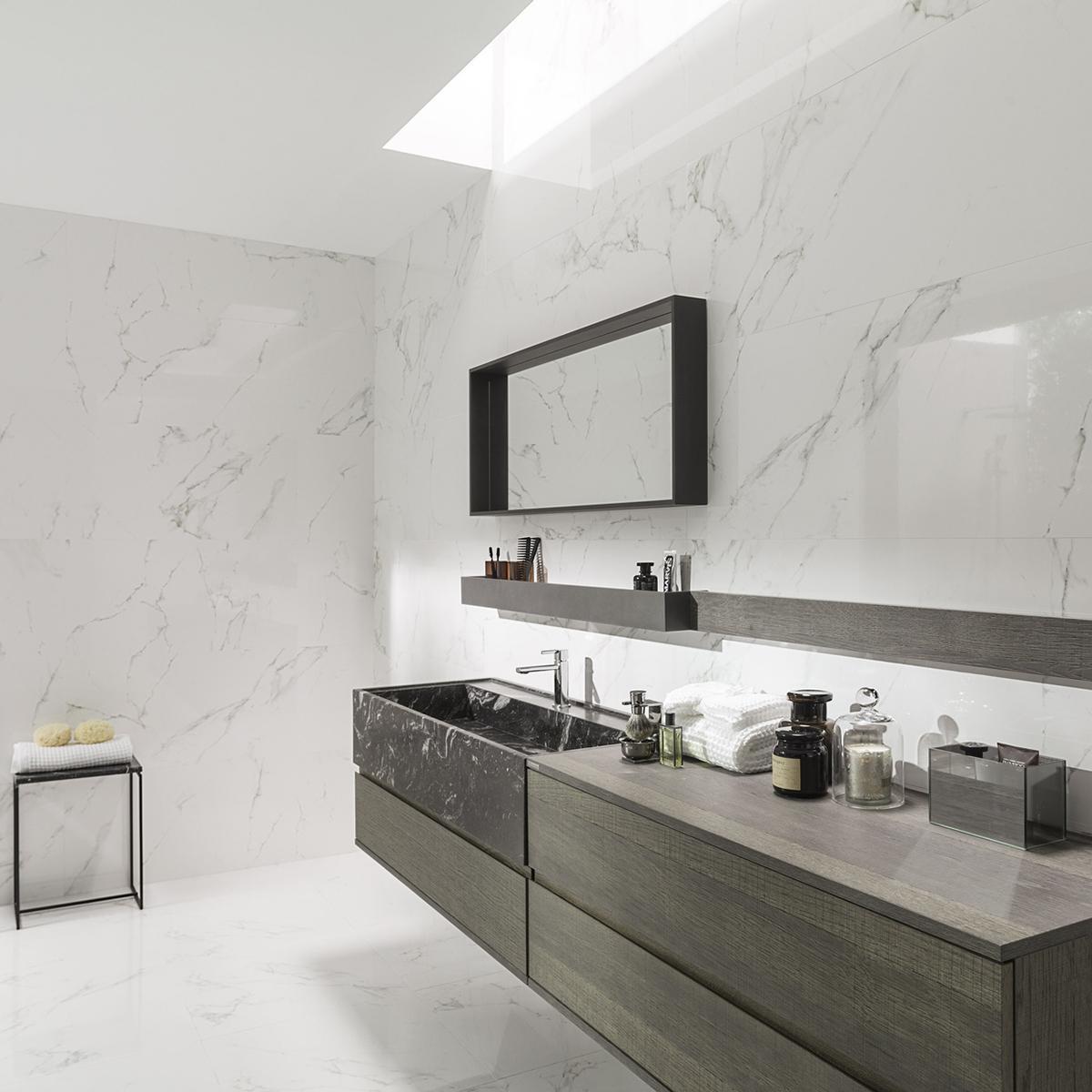 Mayólica Marmol Carrara Blanco Brillante - 45X120 cm - 1.62 m2
