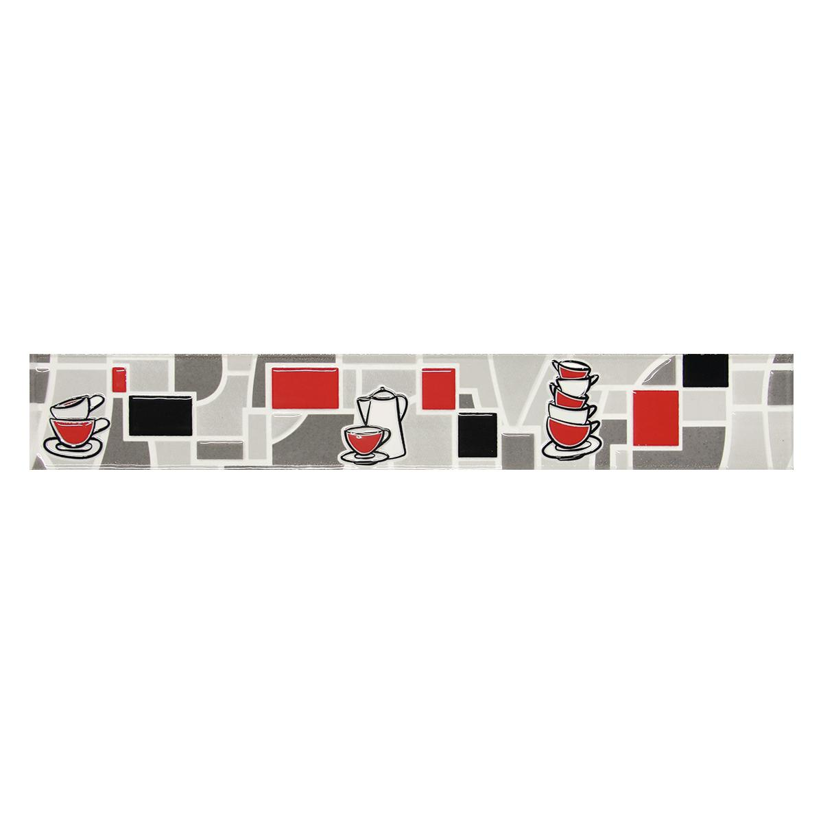 Listelo Decorado Rojo Brillante - 6X39.5 cm - 1 pza