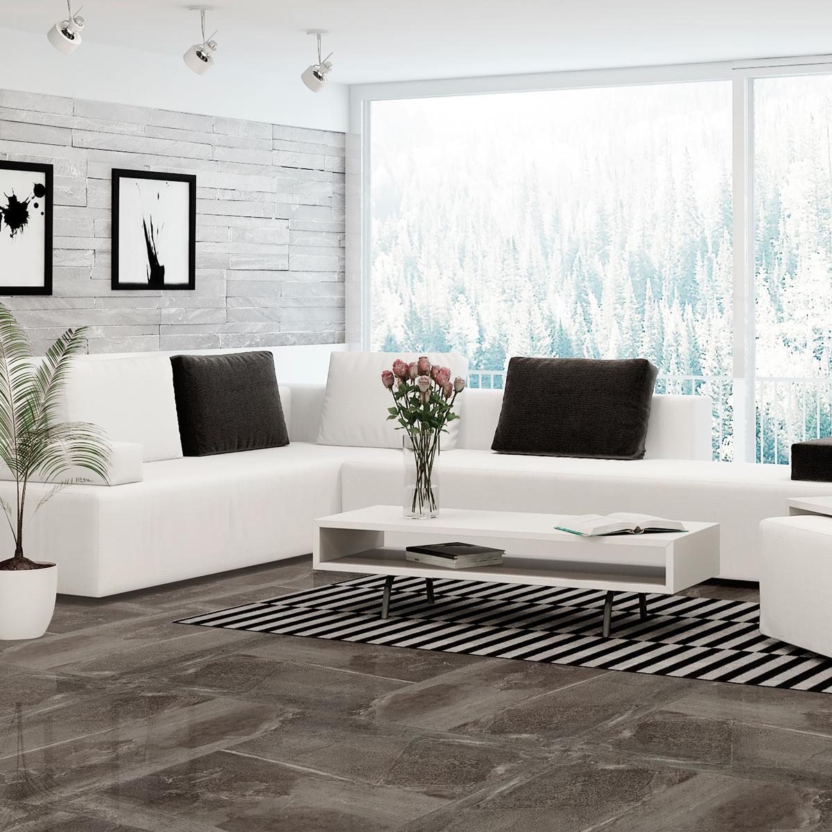Porcelanato Eufrates Gris Oscuro Brillante - 60X60 cm - 1.44 m2
