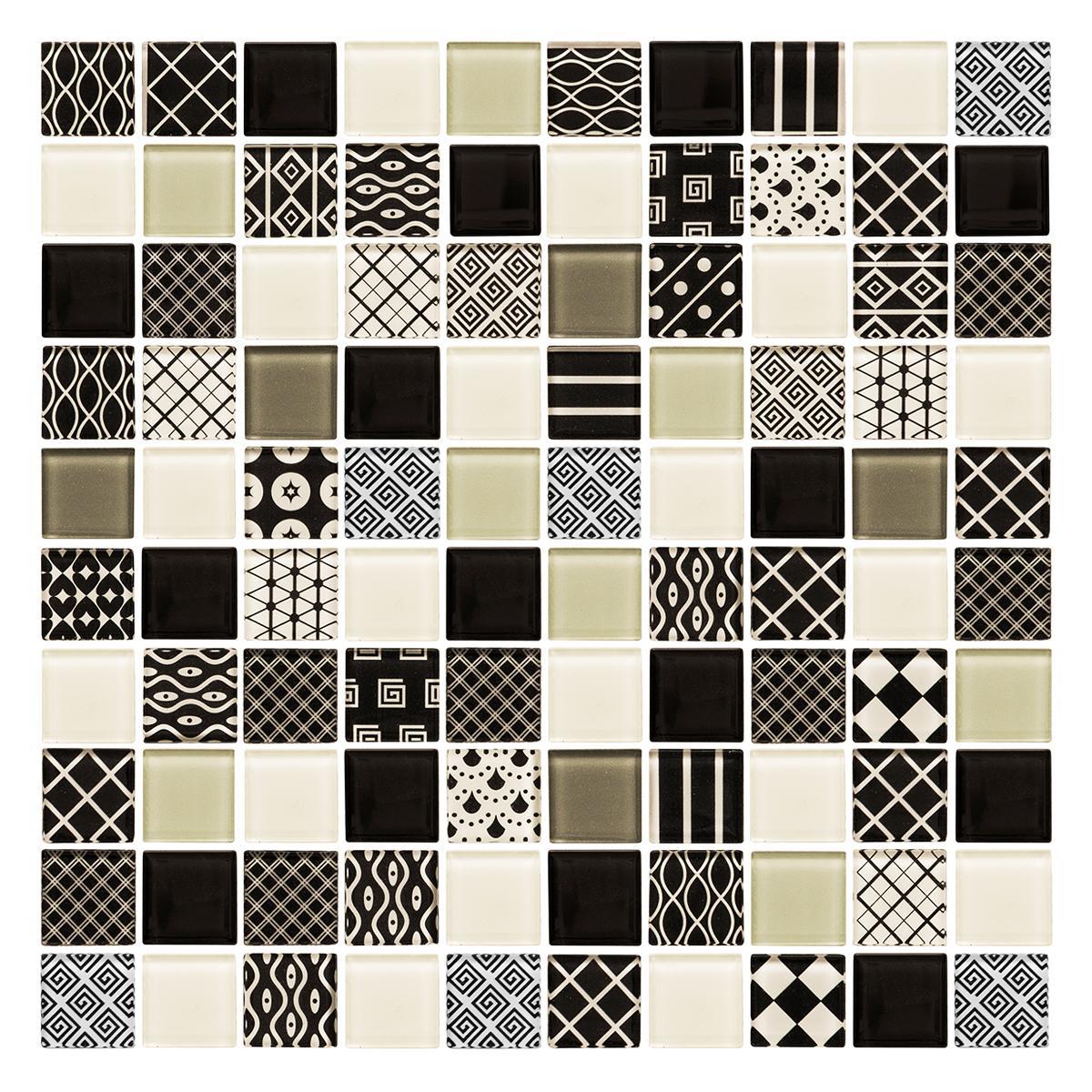 Pepelma Patch Blanco/Negro Brillante - 31.8X31.8 cm - 1 Pza