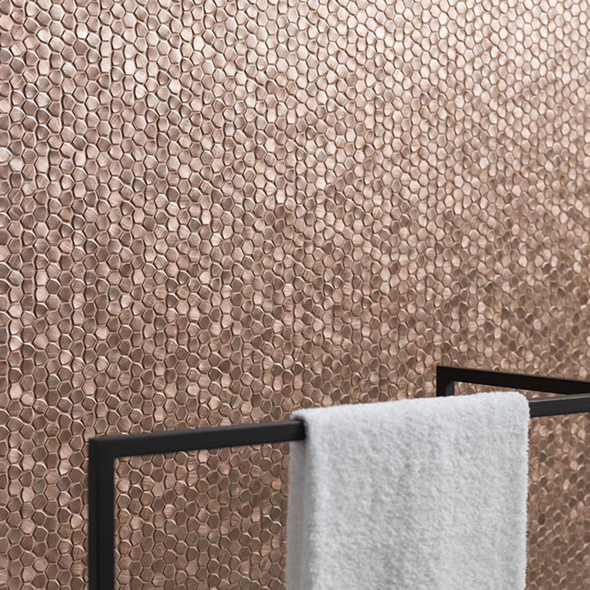 Mosaico Gravity Bronce Rosa Brillante - 30.4X31 cm - 1 pza