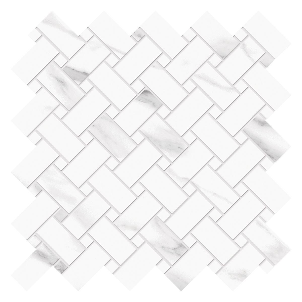 Mosaico Tele Di Marmo Trama Blanco/Gris Brillante - 31.9X28.3 cm - 1 pza