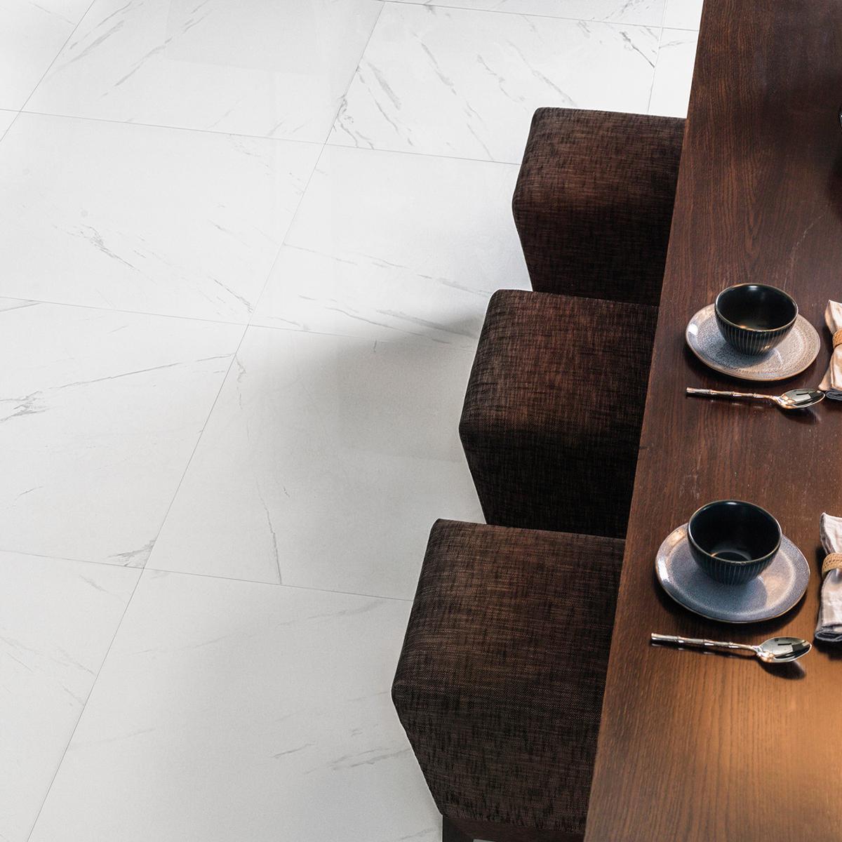 Piso Thassos Blanco Brillante - 59.6X59.6 cm - 1.42 m2