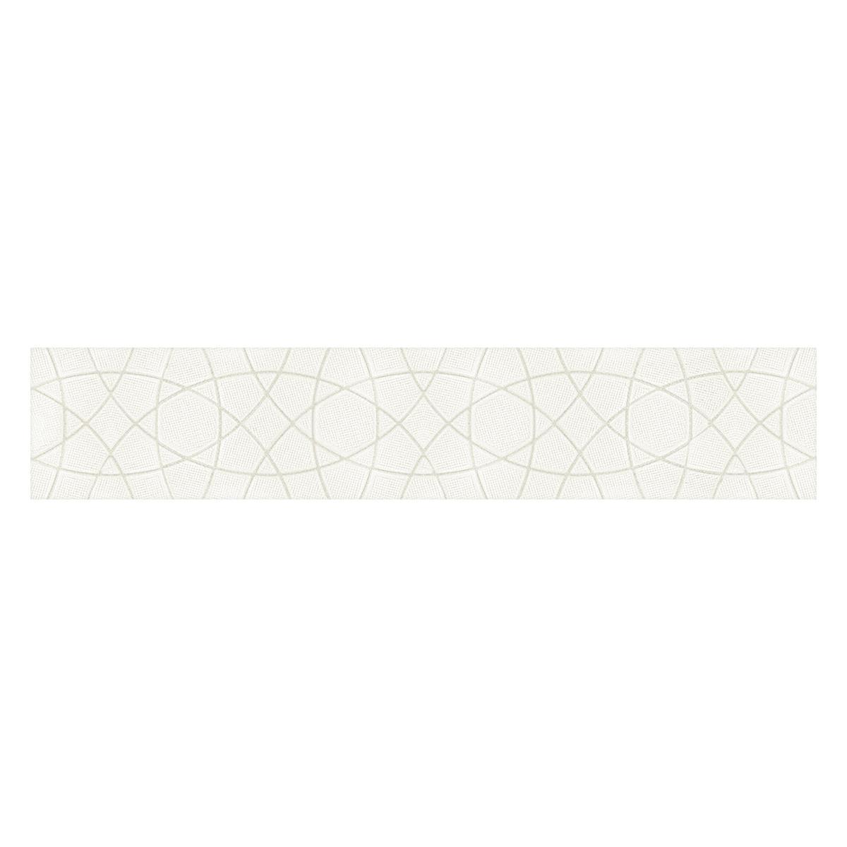 Zócalo Decorado Blanco Brillante - 8.7X45 cm - 1 pza