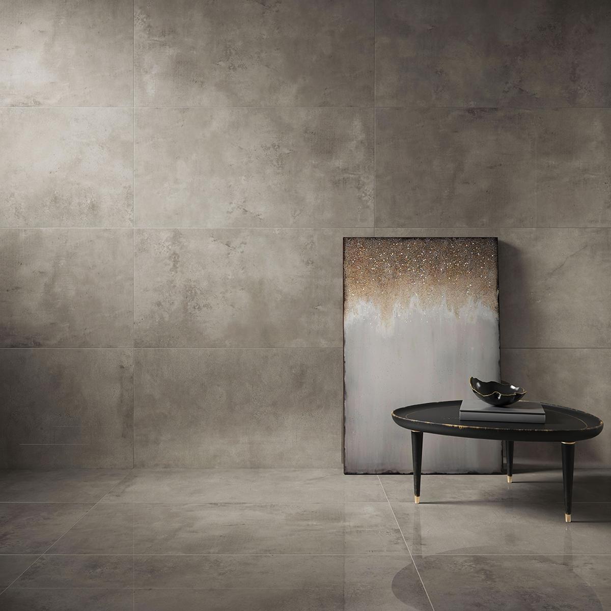 Porcelanato Concreto Aparente Gris Brillante - 59X59 cm - 1.39 m2