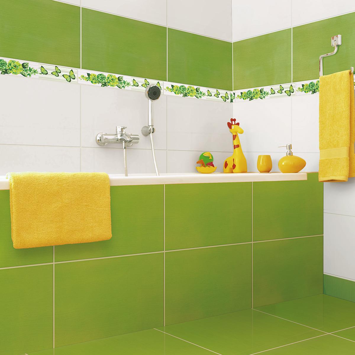 Listelo Decorado Verde Brillante - 6X39.5 cm - 1 pza