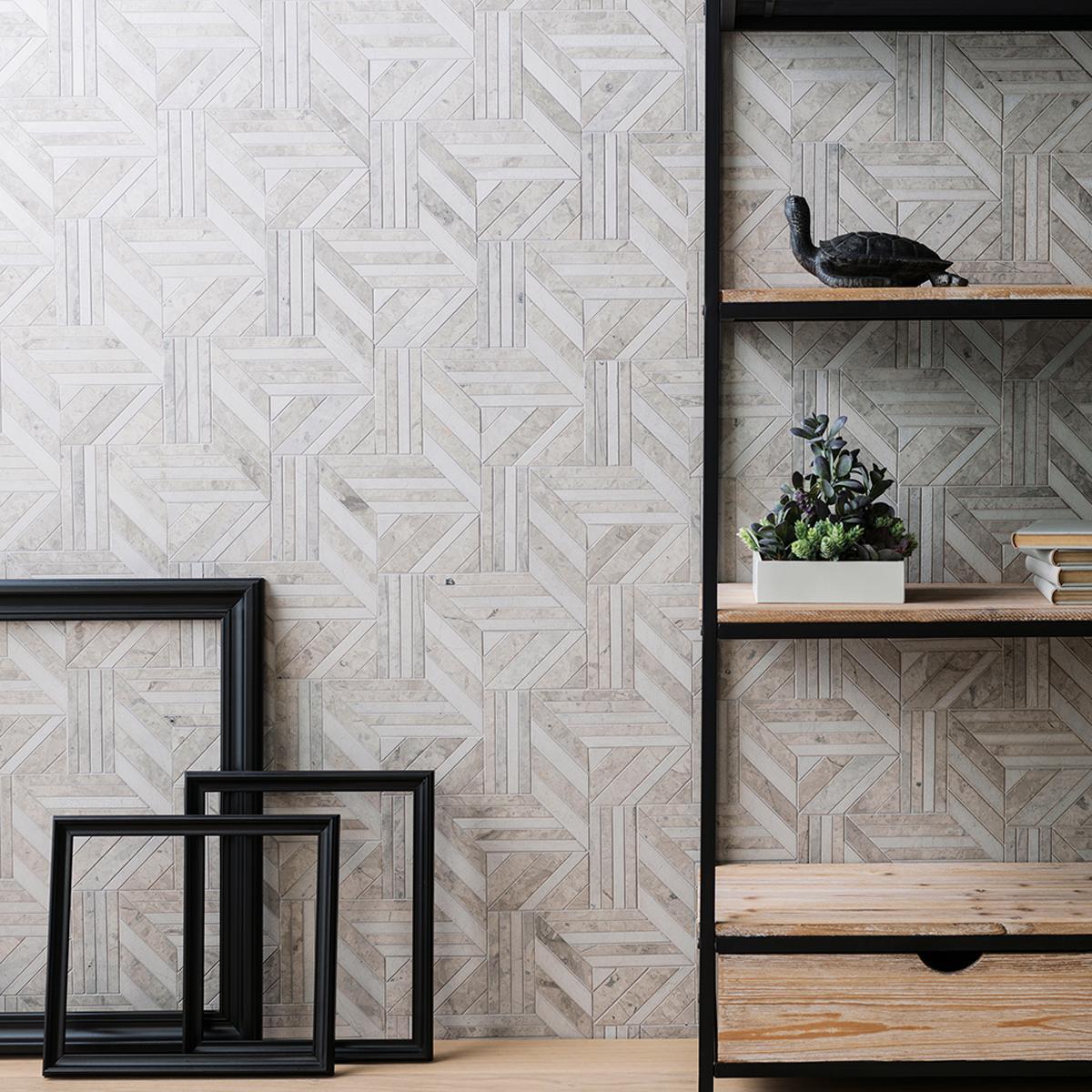Mosaico Form Gris/Beige Mate - 21X23X1 cm - 1 pza
