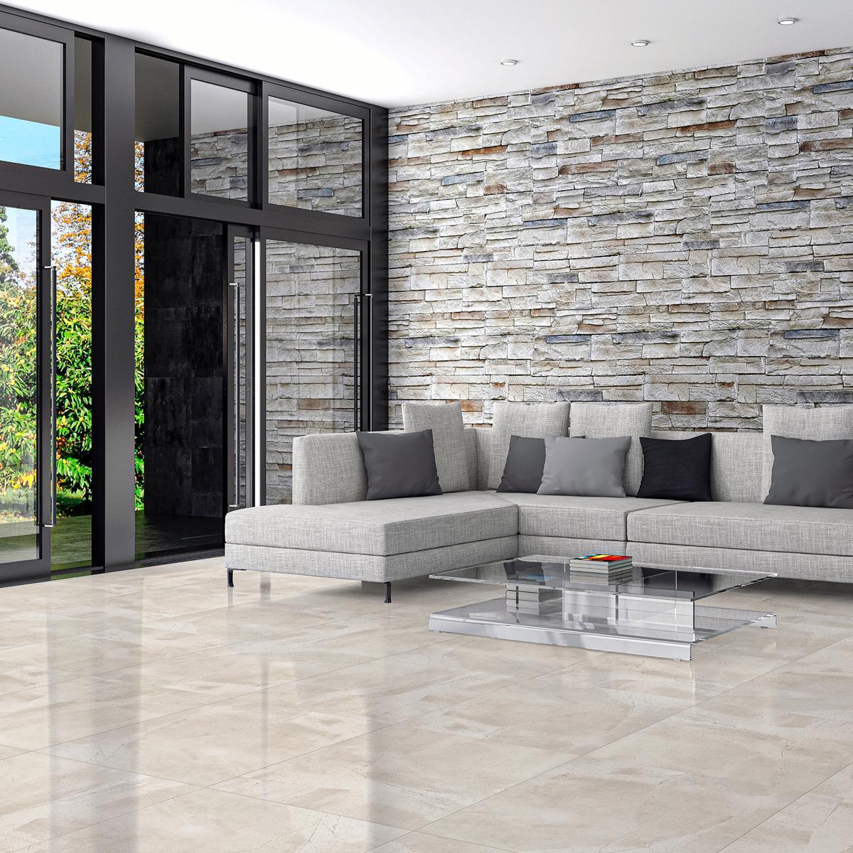 Porcelanato Zement Gris Brillante - 60X60 cm - 1.44 m2