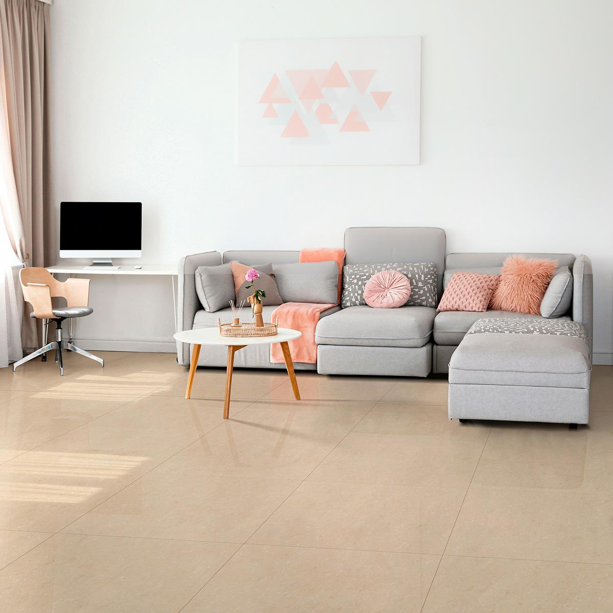 Porcelanato Doble Carga Marfil Brillante - 60X60 cm - 1.44 m2